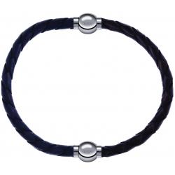 Apollon - Collection MiX - bracelet combinable cuir tressé italien gris - 10,5cm + cuir tressé italien marron - 10,5cm