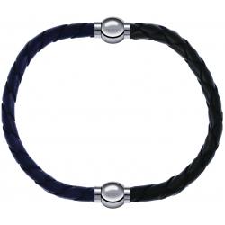 Apollon - Collection MiX - bracelet combinable cuir tressé italien gris - 10,5cm + cuir tressé italien vert - 10,5cm