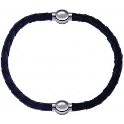Apollon - Collection MiX - bracelet combinable cuir tressé italien gris - 10,5cm + cuir tressé italien noir - 10,5cm