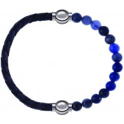 Apollon - Collection MiX - bracelet combinable cuir tressé italien gris - 10,5cm + sodalite 6mm - 10,25cm