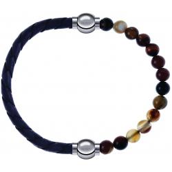 Apollon - Collection MiX - bracelet combinable cuir tressé italien gris - 10,5cm + agate marron 6mm - 10,25cm