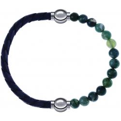 Apollon - Collection MiX - bracelet combinable cuir tressé italien gris - 10,5cm + agate verte mousse 6mm - 10,25cm