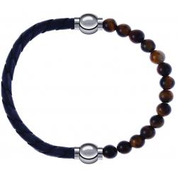 Apollon - Collection MiX - bracelet combinable cuir tressé italien gris - 10,5cm + oeil de tigre 6mm - 10,25cm