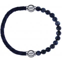 Apollon - Collection MiX - bracelet combinable cuir tressé italien gris - 10,5cm + labradorite 6mm - 10,25cm