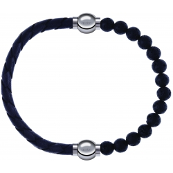 Apollon - Collection MiX - bracelet combinable cuir tressé italien gris - 10,5cm + pierre de lave 6mm - 10,25cm