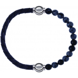 Apollon - Collection MiX - bracelet combinable cuir tressé italien gris - 10,5cm + obsidienne neige 6mm - 10,25cm