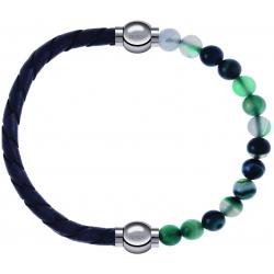 Apollon - Collection MiX - bracelet combinable cuir tressé italien gris - 10,5cm + agate indienne teintée 6mm - 10,25cm