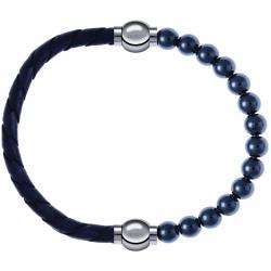 Apollon - Collection MiX - bracelet combinable cuir tressé italien gris - 10,5cm + hématite 6mm - 10,25cm