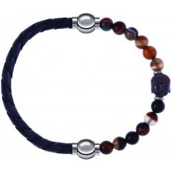 Apollon - Collection MiX - bracelet combinable cuir tressé italien gris - 10,5cm + agate marron 6mm - Bouddha - 10cm