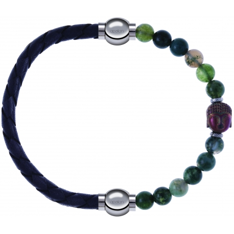 Apollon - Collection MiX - bracelet combinable cuir tressé italien gris - 10,5cm + agate verte 6mm - Bouddha - 10cm
