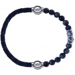 Apollon - Collection MiX - bracelet combinable cuir tressé italien gris - 10,5cm + sodalite 6mm - 10cm