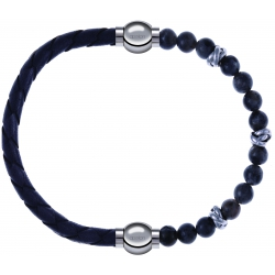 Apollon - Collection MiX - bracelet combinable cuir tressé italien gris - 10,5cm + labradorite 6mm - 10cm