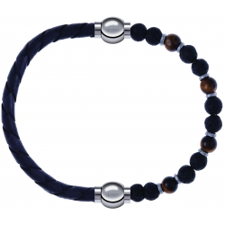Apollon - Collection MiX - bracelet combinable cuir tressé italien gris - 10,5cm + oeil de tigre - pierre de lave 6mm - 10,75cm