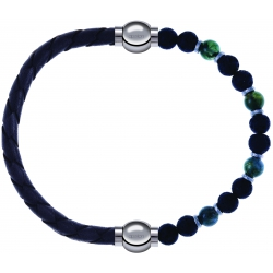 Apollon - Collection MiX - bracelet combinable cuir tressé italien gris-10,5cm + agate teintée verte-pierre de lave 6mm-10,75cm