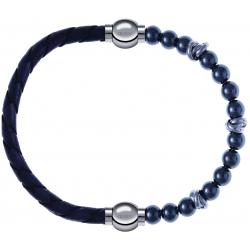 Apollon - Collection MiX - bracelet combinable cuir tressé italien gris - 10,5cm + hématite 6mm - 10cm