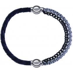 Apollon - Collection MiX - bracelet combinable cuir tressé italien gris - 10,5cm + chaines 2 tons noir et blancs - 10,25cm