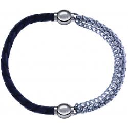 Apollon - Collection MiX - bracelet combinable cuir tressé italien gris - 10,5cm + chaines - 10,25cm