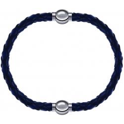 Apollon - Collection MiX - bracelet combinable cuir tressé italien bleu - 10,5cm + cuir tressé italien bleu - 10,5cm