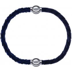 Apollon - Collection MiX - bracelet combinable cuir tressé italien bleu - 10,5cm + cuir tressé italien gris - 10,5cm
