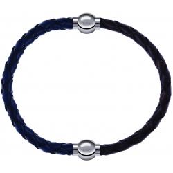 Apollon - Collection MiX - bracelet combinable cuir tressé italien bleu - 10,5cm + cuir tressé italien marron - 10,5cm