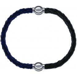 Apollon - Collection MiX - bracelet combinable cuir tressé italien bleu - 10,5cm + cuir tressé italien vert - 10,5cm