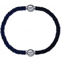 Apollon - Collection MiX - bracelet combinable cuir tressé italien bleu - 10,5cm + cuir tressé italien noir - 10,5cm