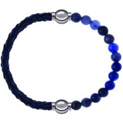 Apollon - Collection MiX - bracelet combinable cuir tressé italien bleu - 10,5cm + sodalite 6mm - 10,25cm