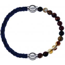 Apollon - Collection MiX - bracelet combinable cuir tressé italien bleu - 10,5cm + agate marron 6mm - 10,25cm
