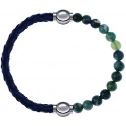 Apollon - Collection MiX - bracelet combinable cuir tressé italien bleu - 10,5cm + agate verte mousse 6mm - 10,25cm