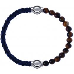 Apollon - Collection MiX - bracelet combinable cuir tressé italien bleu - 10,5cm + oeil de tigre 6mm - 10,25cm