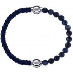 Apollon - Collection MiX - bracelet combinable cuir tressé italien bleu - 10,5cm + labradorite 6mm - 10,25cm