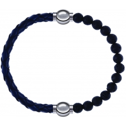 Apollon - Collection MiX - bracelet combinable cuir tressé italien bleu - 10,5cm + pierre de lave 6mm - 10,25cm