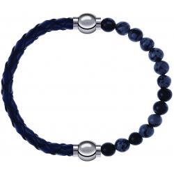 Apollon - Collection MiX - bracelet combinable cuir tressé italien bleu - 10,5cm + obsidienne neige 6mm - 10,25cm