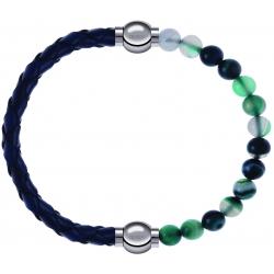Apollon - Collection MiX - bracelet combinable cuir tressé italien bleu - 10,5cm + agate indienne teintée 6mm - 10,25cm