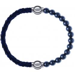 Apollon - Collection MiX - bracelet combinable cuir tressé italien bleu - 10,5cm + hématite 6mm - 10,25cm