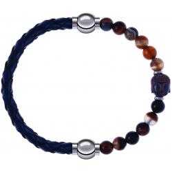 Apollon - Collection MiX - bracelet combinable cuir tressé italien bleu - 10,5cm + agate marron 6mm - Bouddha - 10cm
