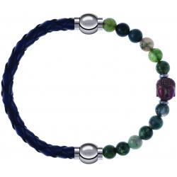 Apollon - Collection MiX - bracelet combinable cuir tressé italien bleu - 10,5cm + agate verte 6mm - Bouddha - 10cm