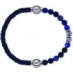 Apollon - Collection MiX - bracelet combinable cuir tressé italien bleu - 10,5cm + labradorite 6mm - 10cm
