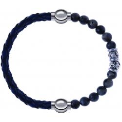 Apollon - Collection MiX - bracelet combinable cuir tressé italien bleu - 10,5cm + sodalite 6mm - 10cm