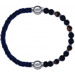 Apollon - Collection MiX - bracelet combinable cuir tressé italien bleu - 10,5cm + oeil de tigre - pierre de lave 6mm - 10,75cm