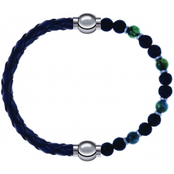 Apollon - Collection MiX - bracelet combinable cuir tressé italien bleu-10,5cm + agate teintée verte-pierre de lave 6mm-10,75cm