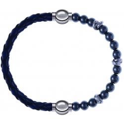 Apollon - Collection MiX - bracelet combinable cuir tressé italien bleu - 10,5cm + hématite 6mm - 10cm