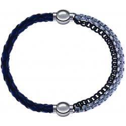 Apollon - Collection MiX - bracelet combinable cuir tressé italien bleu - 10,5cm + chaines 2 tons noir et blancs - 10,25cm