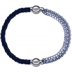 Apollon - Collection MiX - bracelet combinable cuir tressé italien bleu - 10,5cm + chaines - 10,25cm