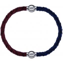 Apollon - Collection MiX - bracelet combinable cuir tressé italien marron - 10,5cm + cuir tressé italien bleu - 10,5cm