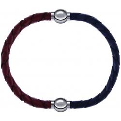 Apollon - Collection MiX - bracelet combinable cuir tressé italien marron - 10,5cm + cuir tressé italien gris - 10,5cm