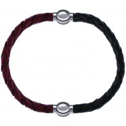 Apollon - Collection MiX - bracelet combinable cuir tressé italien marron - 10,5cm + cuir tressé italien vert - 10,5cm