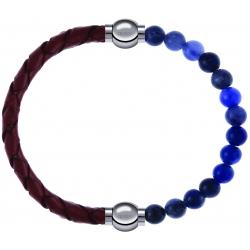 Apollon - Collection MiX - bracelet combinable cuir tressé italien marron - 10,5cm + sodalite 6mm - 10,25cm