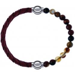 Apollon - Collection MiX - bracelet combinable cuir tressé italien marron - 10,5cm + agate marron 6mm - 10,25cm