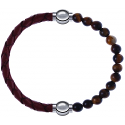 Apollon - Collection MiX - bracelet combinable cuir tressé italien marron - 10,5cm + oeil de tigre 6mm - 10,25cm